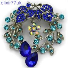 "NEW 2.4"" LARGE SILVER FLOWER BROOCH BLUE DIAMANTE CRYSTAL BROACH WEDDING UK GIFT"