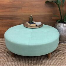 LARGE ROUND COFFEE TABLE OTTOMAN FABRIC SIDE STOOL CHAIR FOOT REST 90CM TEAL
