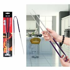Stainless Steel Grill Grilling BBQ Barbecue Charcoal Tongs Cooking Kitchen Tool