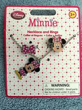 DISNEY MINNIE MOUSE NECKLACE AND RING SET - 1 NECKLACE / 2 RINGS-PARTY FAVOR-NEW