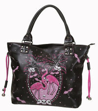 Banned Apparel Goth Punk Flamingo TESCHI BAT Design Handbag Tote medio / grande