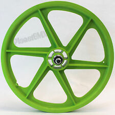 "Skyway GREEN 20"" Six Spoke TUFF WHEELS Mag SET old school BMX sealed USA-made"