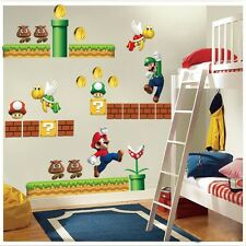 Huge Super Mario Bro Mural Vinyl Wall Decals Sticker Kids Nursery Room Decor