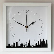 *NEW* New York Skyline Wall Clock - Modern Silhouette White Black Cityscape Gift