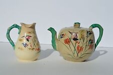 LOT OF 2 ANTIQUE JAPANESE SATSUMA HAND PAINTED TEA POT AND CREAMER BY KINKOAN