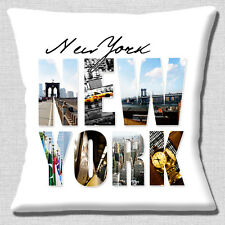 "NEW YORK LARGE PHOTO LETTERS NYC AMERICA USA TRAVEL 16"" Pillow Cushion Cover"