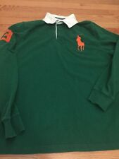 Polo Ralph Lauren Men's Long Sleeve Big Pony #3 Polo Rugby Shirt Green L LARGE
