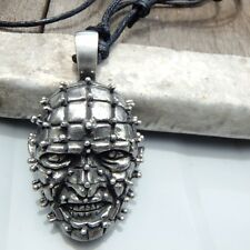 Hellraiser Pinhead Face Horror Demon Pewter Pendant with Cotton Necklace #1357