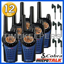 12km COBRA MT975 Walkie Talkie 2 Two Way PMR 446 Radio Six + 6x Headsets