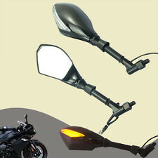 Motorcycle LED Turn Signal Light  Racing Side Rear View Mirrors Black ABS Stem