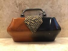 """TIMMY WOODS """"DONNA"""" RARE MINAUDIERE CLUTCH INCREDIBLE NATURAL POLISHED ART BAG"""