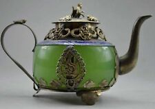 Collectible Decorated Old Handwork Jade & Tibet Silver Dragon Tea Pot Monkey NER