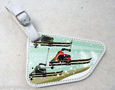 m SKI skier TRIO Coelacanth Luggage Tag ID holder Vegan Leather travel bag