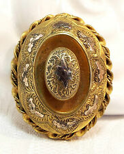 Vintage / Victorian Gold Pinchbeck Ornate Etruscan Oval Target Brooch Pin