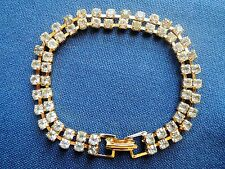 Estate Vintage Gold-Tone 2-Strand HOLIDAY SHINY RHINESTONE Link BRACELET - NEW