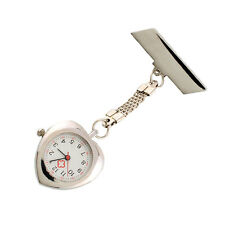 Pocket Fobwatch Heart Shape Stainless Nurse Doctor Fob Movement Watch Brooch
