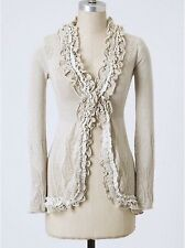 Anthropologie sz M Curlytop Ruffled Cardigan Sweater by Guinevere Beige & Gray