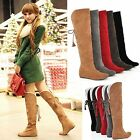 Winter Women's Warm Over the Knee Thigh High Lace Up Long Boots Flat Heel Shoes