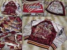 HOUSTON SUKAJAN souvenir bomber tour jacket (women's S) Tiger Eagle Dragon Ray