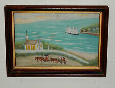 Antique Folk Art Painting Americana Sea Ship Church Horses Landscape