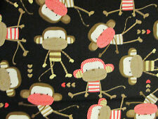 SOCK MONKEY MONKEYS TAN RED BLACK COTTON FABRIC FQ