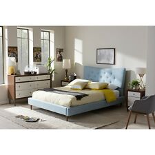 Baxton Studio Hannah Mid-Century Modern Sky Blue Fabric Queen Size Platform Bed