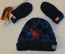 BOYS SPIDER-MAN WINTER HAT BEANIE MITTENS GLOVES SET TODDLER 3 AND UNDER MARVEL!