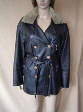 WOMENS 'MILAN' BLACK LEATHER BELTED COAT WITH REMOVEABLE COLLAR UK SIZE 12 EU 4