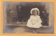 Real Photo Postcard RPPC - Little Girl and Dog on Porch