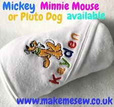 PERSONALISED BABY HOODED TOWEL NAME MICKEY PLUTO MINNIE HOSPITAL BAG GIFT