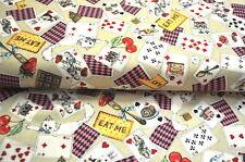 COSMO JAPAN ALICE IM WUNDERLAND Designerstoff  0,5m x 1,10m KARTEN POKER KATZE