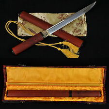 "20"" JAPANESE SAMURAI SHIRASAYA SWORD TANTO CLAY TEMPERED BLADE RED SAYA&HANDLE"