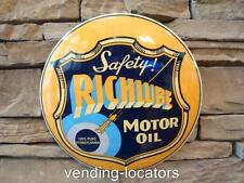 "RICH LUBE Motor Oil Domed Metal 12"" Heavy Gas Wall Man Cave Nostalgic Texaco"
