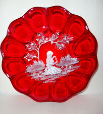 Fenton  Mary Gregory Ruby Red Plate /Love Me Love Me Not   Gorgeous
