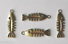 12 Tibetan Silver TONNO SCALE Ossa 3d Ciondolo/Ciondolo/Perline 29mm ch47