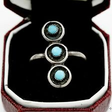Antique Vintage Sterling Silver Native Pawn Navajo Triple Turquoise Ring Sz 7