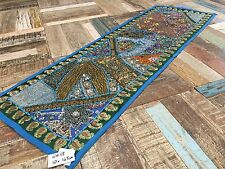 Indian Embroidered Turquoise Blue Multi Colour Wall Hanging 50cm x 145cm WH88