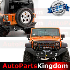 07-17 Jeep Wrangler JK Full Width Front Bumper+Rear Bumper+Hitch Receiver Combo