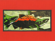 5 Handmade Salmon Fish Note Cards on Red Paper Stationary with Envelopes Fishing