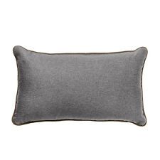 """Pewter 12"""" x 20"""" OBLONG Wool Feel Soft Fabric Piped Cushions Filled with Pads"""