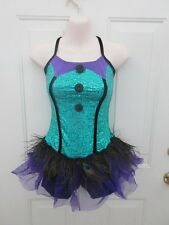 Teal Blue Purple Peacock Feather Dance Costume Tap MT Jazz Large Child LC