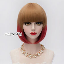30CM Short BOB Style Straight Blonde Mixed Red Anime Lolita Cosplay Wig