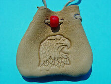 Eagle Head Branded Medicine Pouch Tan Buckskin Necklace Medicine Bag 1064