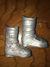Barbie Silver Ski Boots Ken Winter Snow Faux Buckles Hiking Skiing Accessory