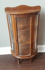 Vintage Wood Glass Curio Display Cabinet Case Shelf Curved Wall Hanging Tabletop