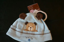New Carters Infant Baby Size 3-9 Months Hat Cap Blue Brown TEDDY Bear LOVE Me