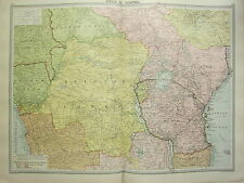 1920 LARGE MAP AFRICA CENTRAL ~ BELGIAN CONGO UGANDA ANGOLA EUROPEAN POSSESSIONS