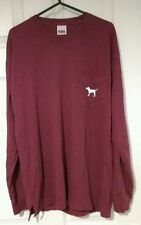 BNWT Victoria's Secret Pink maroon X-Small long sleeve tee jumper top UK 6-8 XS