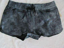 True Religion 100% Leather Running Shorts- Lined-Pewter/Black-Size Med -NWT $348