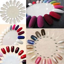 10x Nail Art Tips Make Up Practice Round Wheel Polish Acrylic Display Natural